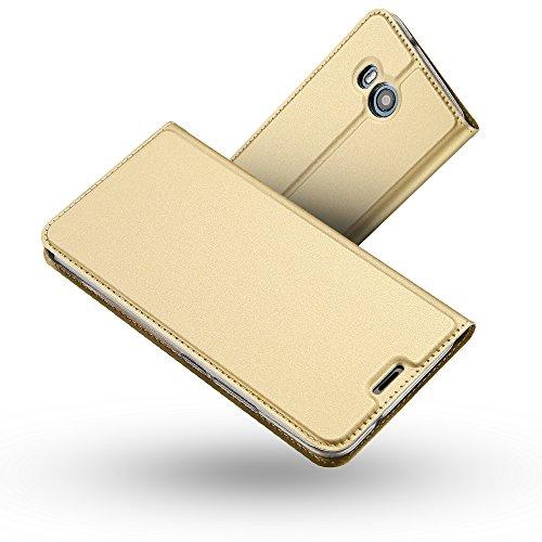 RADOO HTC U11 Lederhülle, Premium PU Leder Handyhülle Brieftasche-Stil Magnetisch Folio Flip Klapphülle Etui Brieftasche Hülle [Karte Halterung] Schutzhülle Tasche Hülle Cover für HTC U11 (Gold)