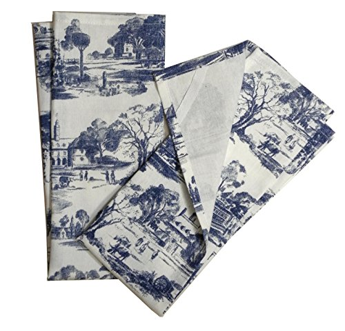 Toile French Country Dish Towel,Set of 2, Blue