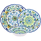 First Design Global Decorative Vintage Floral 12 Piece Melamine Dinnerware, Unique Dish Set for Parties or Everyday Use, Service for 4