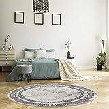 MyShop24h Alfombra para dormitorio redonda – gris – 120 x 120 cm de pelo corto – aspecto de mármol piedra – cenefa moderna para salón