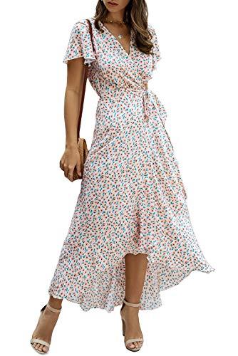 wrap dresses Alelly Women Wrap Maxi Dress Split Flowy Long Cocktail Dress Boho Polka Dot Summer Dresses