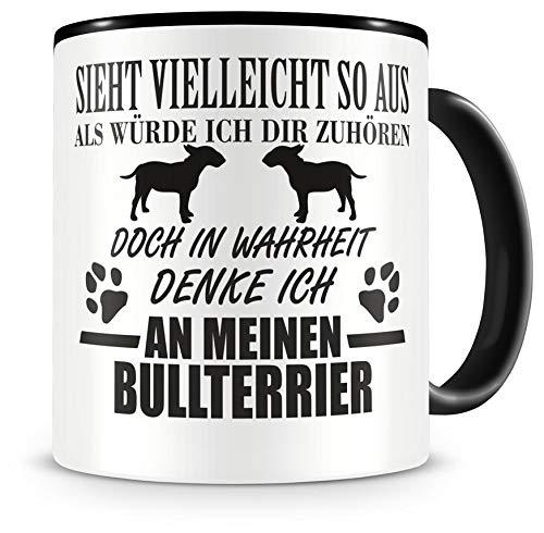 Samunshi® Ich denke an meinen Bullterrier Hunde Tasse Kaffeetasse Teetasse Kaffeepott Kaffeebecher Becher