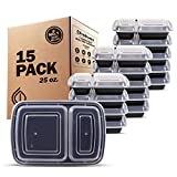Freshware Meal Prep Containers [15 Pack] 2 Compartment with Lids, Food Storage Containers, Bento Box | BPA Free | Stackable | Plastic Containers, Microwave/Dishwasher/Freezer Safe (25 oz)