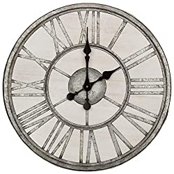 Patton Wall Decor 20 Inch Rustic Wood and Galvanized Metal Roman Numeral Wall Clock, White