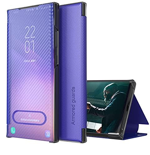 Eabhulie iPhone 12 Pro Funda, Delgada de Fibra de Carbono Translúcida Smart View Flip Cover Carcasa con Función Atril para iPhone 12 Pro Azul