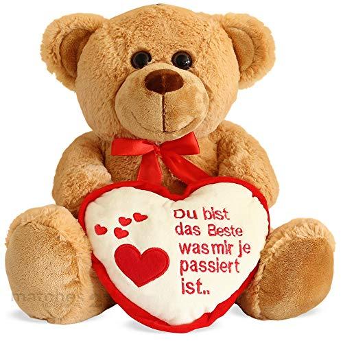 matches21 Teddybär mit Herz / Herzteddy ** Du bist das Beste ** Hellbraun / beige 25 cm - Die Geschenkidee Klassiker