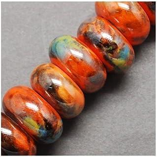 Feuille dargent Transparent Orange perle ovale en verre 28/x 28/x 15/mm 3