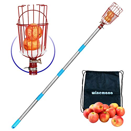YOFIT Fruit Picker Basket with Cushion and 1.3-8 FT Telescopic Extension Pole, Twist-On Professional Metal Fruit Catcher Harvester with a Storage Bag, 8 FT Fruit Picking Tool for Any Kinds of Fruits