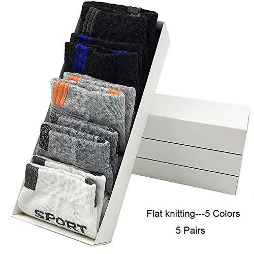Calcetines de algodón para Hombres Calcetines Deportivos Suaves para Hombres 5 Pares/MuchosCalcetines Deportivos-Gray-EU 39-43