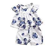 6M-3T Infant Kids Boys Girls Outfits Floral Printing Fly Sleeve Pleated Skirt Shorts Two Piece Set (2-3 Years, Blue)