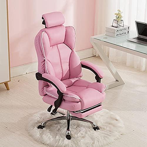 Computerstuhl, Haushaltsstuhl, Chefstuhl, Rückenlehne Sofa-Stuhl, Spielstuhl, bequemer sesshafter Bürostuhl, Live-Stuhl-Rosa