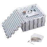 KnitIQ Spannmatten-Set – 9 extra dicke 1,9cm tiefe Spannunterlagen mit Rasterlinien, 32x32cm, 100 stabile rostfreie T-Nadeln und Stautasche für Stricken Häkeln Lace