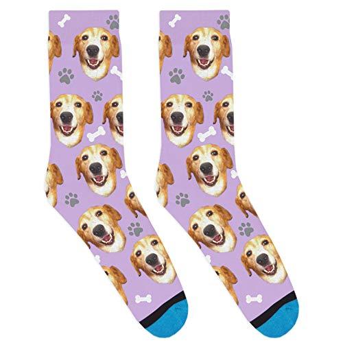DivvyUp Socks - Custom Dog Socks - Put Your Dog on Socks! (Small, Lavender)