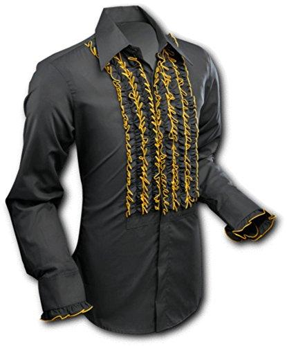 Chenaski 70er Jahre Rüschenhemd Black-Gold, Size XL