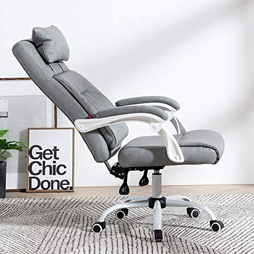 NBVCX Furniture Decoration Swivel Chair Multi Function PU Recliner Footstool Business Swivel Chair 360 Degree Swivel Chair (Color: White Size: A) A_ Gray