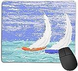 Gaming-Mauspad, Segelboot-nautische Grunge-Stil-Illustration von zwei Rennsegelbooten in einem windigen Ozean-Wasser-Druck, rutschfeste Gummiunterseite Mousepad für Notebooks Computer Mauspads 25cmX20