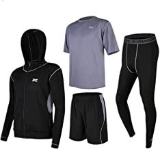 Trainingskleidung für Herren Kurzarm T-Shirt Shorts Herren Cool Dry Kurzarm-Kompressionsset 4 in 1 Set mit Outwear Kompressionshose für Radfahren Laufen Gym Fitness ( Color : Black gray , Size : S )