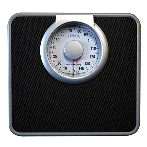 YSTC Báscula Profesional para médicos,báscula mecánica para baño,dial analógico fácil de Leer,150kg (330lb),Negro/Cuadrado
