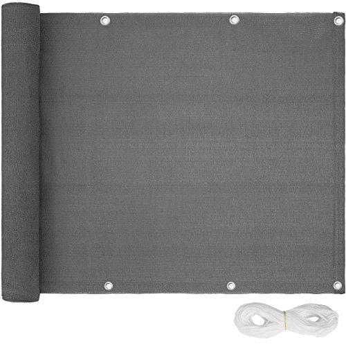 TecTake Balkon-Sichtschutz | Balkonbespannung | Witterungsbeständig und Wasserabweisend Größen (Grau | 500x90 cm | no. 402882)