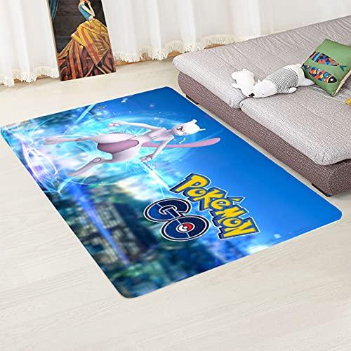 PHhomedecor Alfombra Suave, Moderno Estilo Decoración Alfombras, Niños Gateando Manta, Arte De Impresión 3D Digimon, 80(H) X150(W) Cm Moqueta para Dormitorio Y Salón O Habitación Infantil