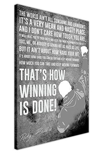 Berühmten Zitat von Rocky Balboa Film gerahmt Art Wandtattoo auf Leinwand 40x Boxen Sport Fotos, schwarz / weiß, 04- 30