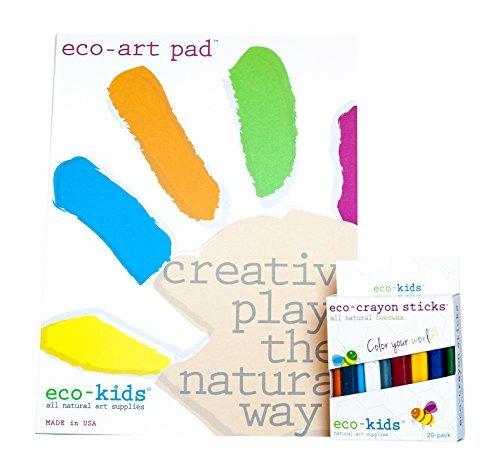 Eco-Kids Non-Toxic Art Pad and 20 Pack Natural Eco Crayon Sticks Set