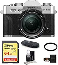 $1299 Get Fujifilm X-T30 Mirrorless Digital Camera w/XF 18-55mm Lens (Silver) Bundle, Includes: SanDisk 64GB Extreme SDXC Memory Card, Card Reader and More