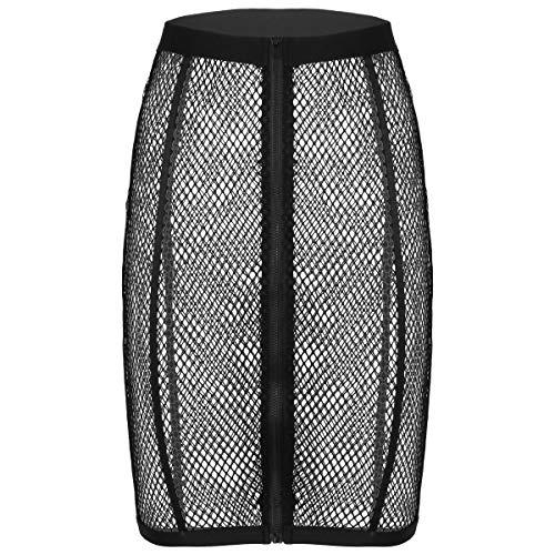 Kaerm Damen Netz Dessous Transparent Fischnetz Rock Bleistiftrock Mit Reißverschluss Sexy Bikini Cover Up Rock Strandrock Gogo Outfits Schwarz M