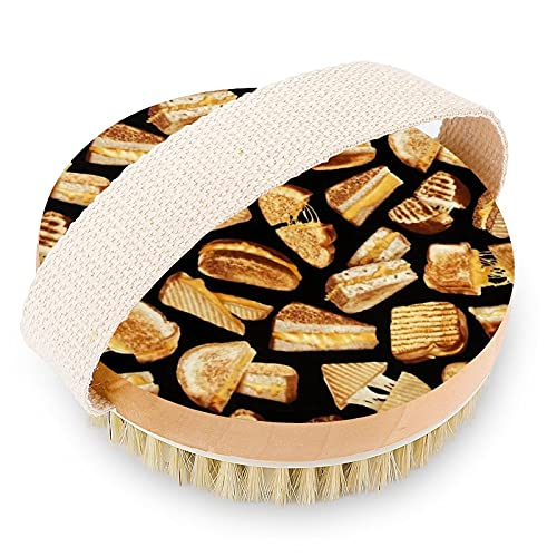 Cepillo de ducha de madera suave para hombre con nódulos de masaje para cepillado húmedo o seco, cepillo de baño exfoliante para mujer, para espalda, cuerpo, pies, sándwiches de queso a la par