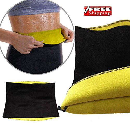 Hot Shapers Sweat Waist belt Hot Slimming and Fitness Flat Stomach Neoprene Bodyshaper Wrap Yoga Fitness firm corset Sweat Workout Thermo Wear Anti Cellulite Waist Trainer Belt With FREE 2fit Black Skipping Workout Rope