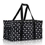 Extra Large Utility Tote Bag - Oversized Collapsible Reusable Wire Frame Rectangular Canvas Basket With Two Exterior Pockets For Beach, Pool, Laundry, Car Trunk, Storage - Dog Paw
