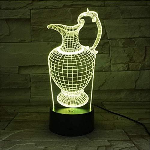 Florero Botella Botella de acrílico Luz de noche 3D Lámpara USB para dormir 3 Aa Batería Lámpara de mesa Decoración de dormitorio Regalo para niños