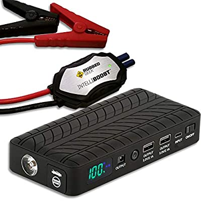 Rugged Geek Portable Lithium Booster Pack Jump Starter and Power Supply with LCD Display