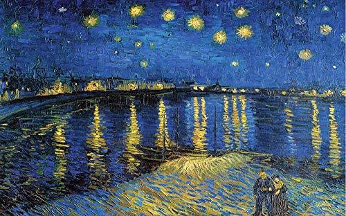 GXYtable cloth Puzzle Noche Estrellada de Van Gogh La Rivera, Adulto 520/1000/1500 Pieza de Madera del Rompecabezas de Juguetes educativos -1209 (Size : 520pc)