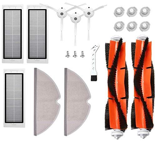 MTKD® Kit 17 Pièces de Rechange pour Roborock S50 S51 S55 S5 S6 - Accessoires pour Robot aspirateur Xiaomi MI Mijia - Brosse Principale, Brosse latérale, Filtre HEPA et Mopa.