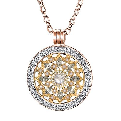 Morella Collar Mujeres de 70 cm Fabricado de Acero Inoxidable y Zirconia con Moneda de Dorado 33 mm en bolsita de Joyas