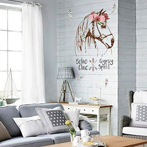 Yyfdy 2019 Nuevo Hot Horse Head Stickers Arte Decorativo Extraíble Pegatinas De Pared Dormitorio Sala De…