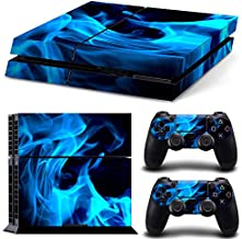 DAPANZ Blue Flame Vinyl Skin Sticker Decal Cover for Playstation 4 Console Dualshock 4 Wireless Controllers
