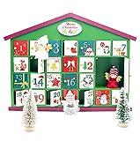 GOZAR Calendario de Adviento Grande Casa de Bricolaje Cajas de Sujeción de Fecha Calendario de Madera de Navidad Decoración Regalos para Niños-Verde