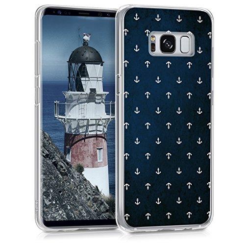 kwmobile Hülle kompatibel mit Samsung Galaxy S8 - Handyhülle - Handy Hülle Anker Muster Weiß Dunkelblau