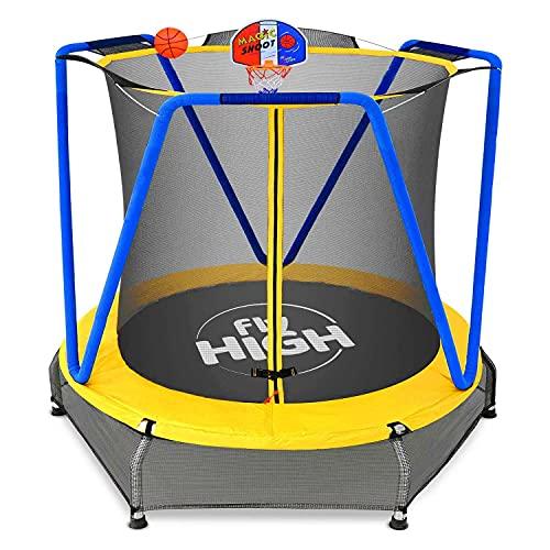 Jumpoo - Trampolino elastico per bambini da 170cm indoor/outdoor tappeto elastico completo di rete di sicurezza, morbido pad imbottito e canestro - Carico max 55kg