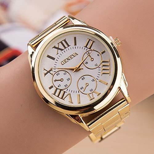 SHOUB New Brand 3 Eyes Gold Casual Orologio al Quarzo Donna Acciaio Inossidabile Orologi Relogio Feminino Orologio da Donna