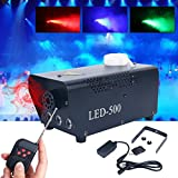 YaeCCC Fog Machine, 500W Fog Machine with Built-In Colored LED Lights, Wireless...