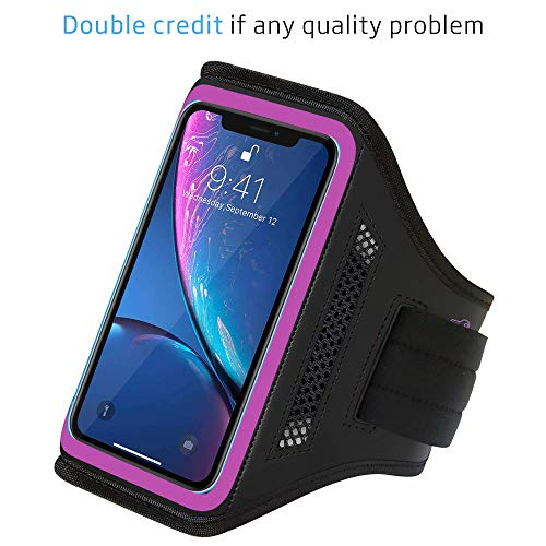 LOVPHONE iPhone 11 Pro/iPhone 11/iPhone XR Armband, Sport Running Exercise Gym Case with Key Holder & Card Slot,Fingerprint Sensor Access Supported and Sweat-Proof