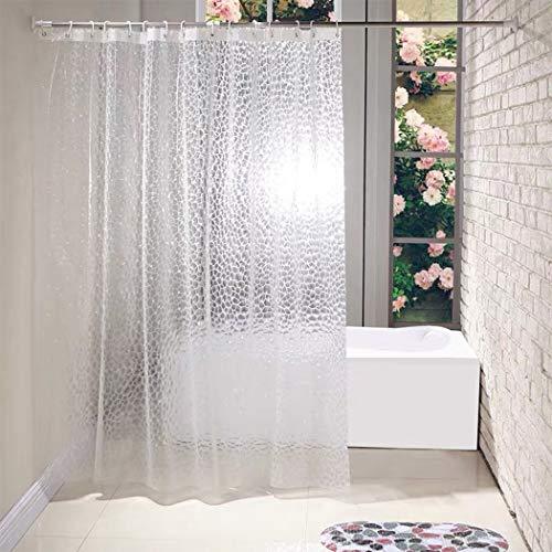 N / A Duschvorhang, 3D-Wasserwürfel, Duschvorhänge für Badezimmer, EVA, halbtransparent, mit 12 Haken, 180 x 180 cm
