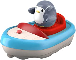 SOWUNO Water Spray Toy Plastic Cute Smooth Penguin Rotatable Boat Swimming Pool Toy Bathtub Sprinkler Bath Swimming Toy
