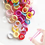 MOSHNOLY Hair Ties for Baby Toddler Elastics 100 PCS 10 Colors Scrunchies Ouchless Seamless Cotton Small Soft No Crease Mini Hairbands Kids Ponytail Holder for Infants(0.8