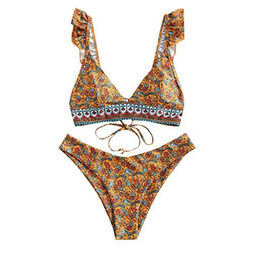 Traje de baño Tankini de dos piezas para mujer, cintura alta, control de barriga, halter vintage, bikini brasileño, traje de baño (café)