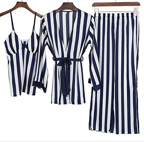 XFLOWR Groen 3-delig pak Robe Striped Home pyjama's Vrouwen Loose Plus Size Robe Nachthemd stijl zomer nachtkleding Femme Robe M donkerblauw