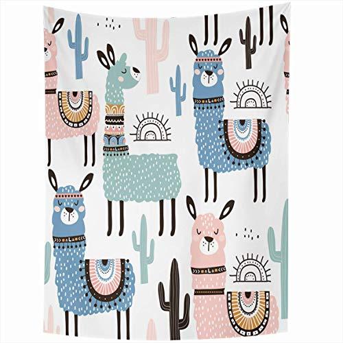N\A Tapiz Luz Alpaca Llama Cactus Estadio Infantil Creativo Gran Lindo Lama Chile Vivero Campo Colgante de Pared Decoración para el hogar Tapices para Sala de Estar Dormitorio Dormitorio